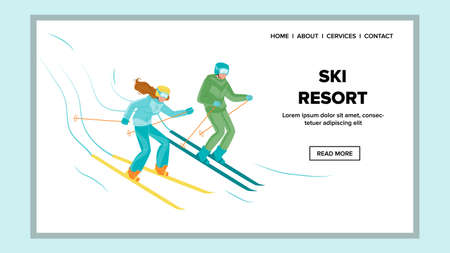 Ski Resort Extreme Sport Seasonal Vacation Vector. Man And Woman Skiing Downhill From Snow Mountain On Ski Resort. Skiers Skiing Down From Snow Mountain. Winter Weekend Web Flat Cartoon Illustration