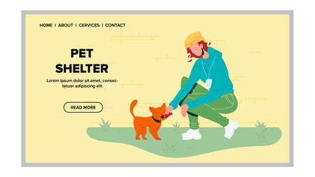 Pet Shelter Volunteer With Homeless Cat Vector. Young Woman With Animal In Pet Shelter Center. Caring And Nourish Feeding Kitten. Character Volunteering Web Flat Cartoon Illustration 向量圖像