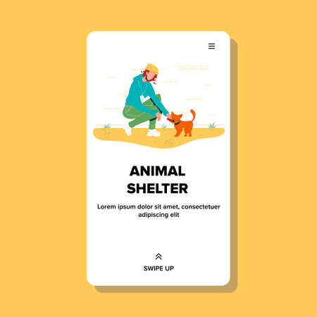 Animal Shelter Girl Feeding Homeless Cat Vector. Young Woman Volunteer Working And Feed Kitty In Animal Shelter. Character Humanitarian Volunteering And Rescue Pet Web Flat Cartoon Illustration 向量圖像