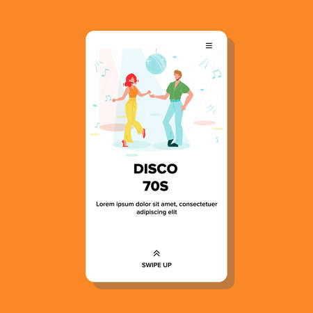 Disco 70s Dancing Couple Club Dance Floor Vector. Young Man And Woman Disco 70s Dancers And Sound Notes On Background. Characters Active Motion Lifestyle Web Flat Cartoon Illustration