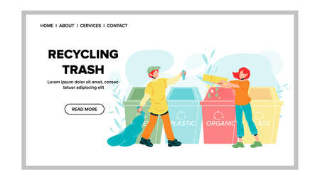 Recycling Trash Rubbish Throw Boy And Girl Vector. Young Man And Woman Sorting Recycling Trash. Organic And Plastic Garbage Throwing In Containers. Characters Web Flat Cartoon Illustration