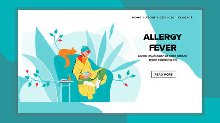 Allergy Fever Illness Woman Sit In Chair Vector. Allergy Fever Girl In Armchair Wrapped Plaid And Warmer On Head. Sick Character Hold Cup And Thermometer In Mouth. Web Flat Cartoon Illustration