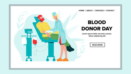 Blood Donor Day Aid In Hospital Cabinet Vector. Man Blood Donor At Donation In Clinic. Patient Sitting In Medical Chair Woman Doctor Connection Tool For Transfusion. Web Flat Cartoon Illustration Reklamní fotografie - 151332738