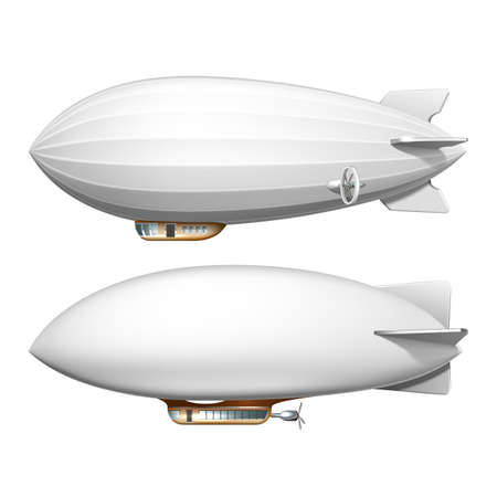 Blimp Blank Helium Airship Transport Set Vector. Passenger Air Blimp Transportation, Aircraft Aviation Vehicle. Atmospheric Flying Commercial Plane Template Realistic 3d Illustrations