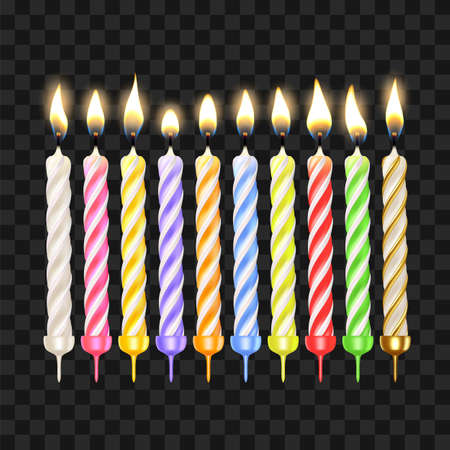 Birthday Candles In Different Color Set Vector. Collection Of Anniversary Decorative Celebrative Cake Candles With Burning Flames. Wax Paraffin Birth Pie Accessories Realistic 3d Illustrations