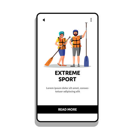 Extreme Sport Rafting People With Paddle Vector