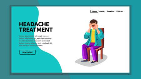 Headache Treatment Disease Patient Man Vector