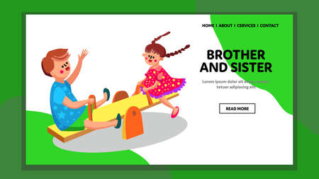 Brother And Sister Playing In Kindergarten Vector Ilustração