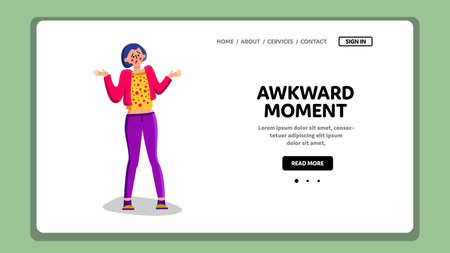Awkward Moment Confused Shrug Young Woman Vector