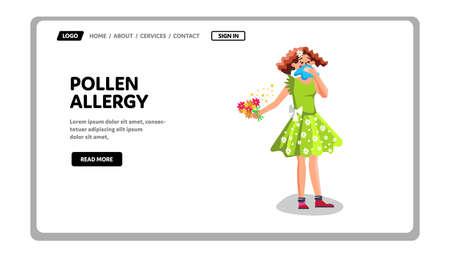 Pollen Allergy Disease Problem Young Woman Vector Vector Illustration