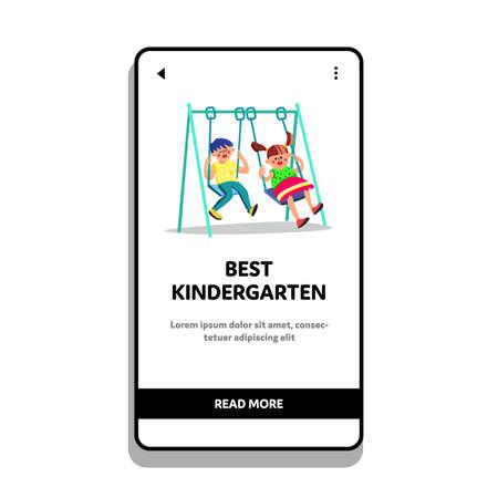Best Kindergarten With Swing In Playground Vector