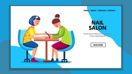 Nail Salon Make Elegant Fashion Manicure Vector