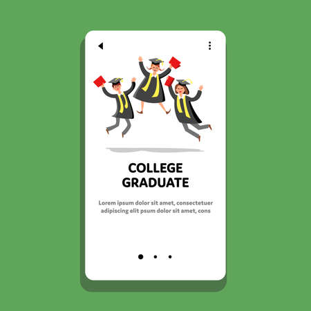 College Graduate Celebrate Happy Students Vector 向量圖像