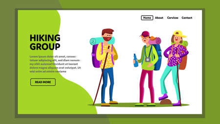 Hiking Group Tourists With Sport Equipment Vector
