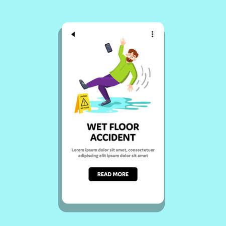 Wet Floor Accident Falling Man In Office Vector Illustration
