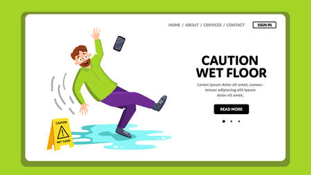 Caution Wet Floor Sign And Falling Man Vector