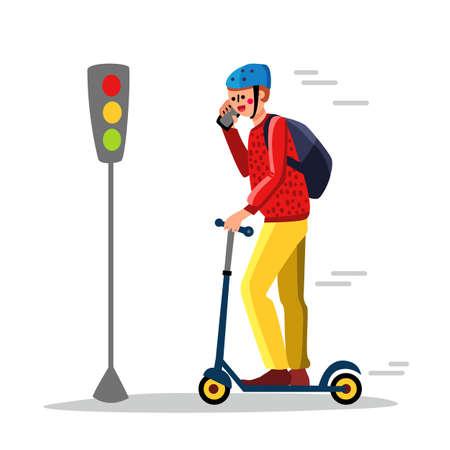 Careless Man Driving Kick Scooter On Street Vector Illustration 矢量图像