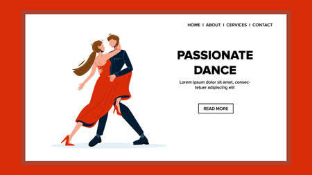 Passionate Dance Tango Performing Couple Vector Illustration