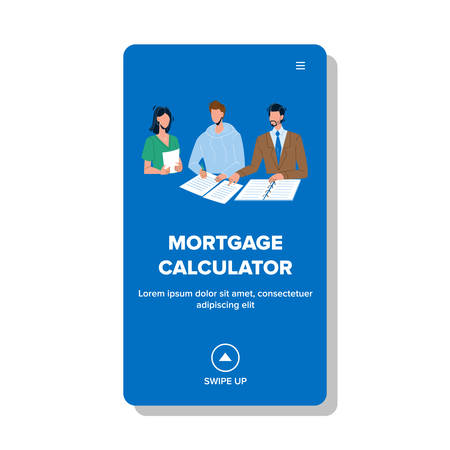 Man Signing Mortgage Calculator In Bank Vector