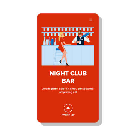 Night Club Bar Client Woman Wait Cocktail Vector Ilustração