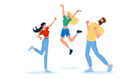 Happy People Jumping Enthusiasm Emotion Vector Illustration 向量圖像