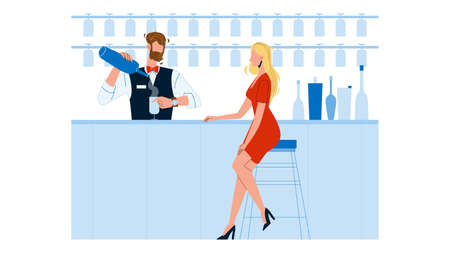 Bartender Expert Making Cocktail For Woman Vector