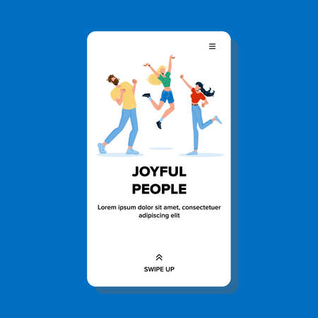Joyful People Celebrate Dancing And Jumping Vector Illustration