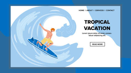 Tropical Vacation And Surfing On Ocean Wave Vector