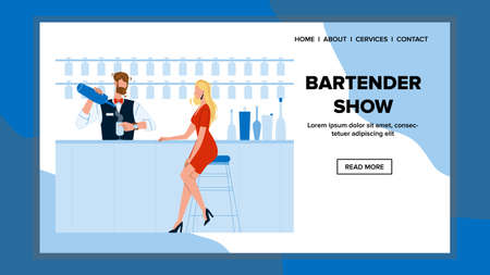 Bartender Show And Make Cocktail Recipe Vector