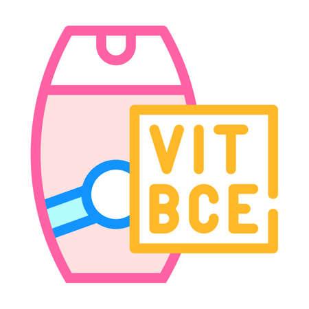 vitamin sunscreen cream color icon vector illustration