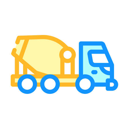 concrete mixer truck color icon vector illustration