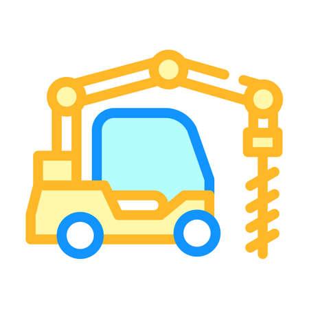 crane-boring machine color icon vector isolated illustration Illusztráció