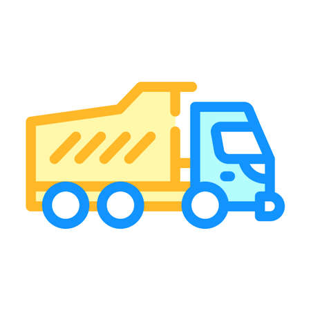 dumper truck color icon vector isolated illustration