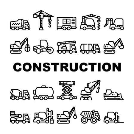 Construction Vehicle Collection Icons Set isolated illustration Illusztráció