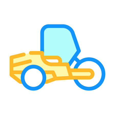 road roller color icon vector isolated illustration