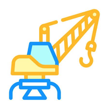 port crane color icon vector isolated illustration