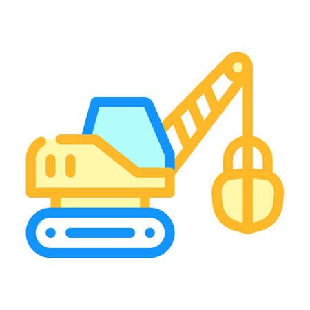 tractor excavator color icon vector isolated illustration Illusztráció