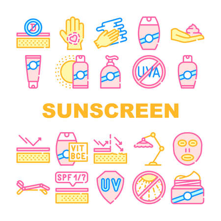 Sunscreen Protection Collection Icons Set isolated illustration 向量圖像