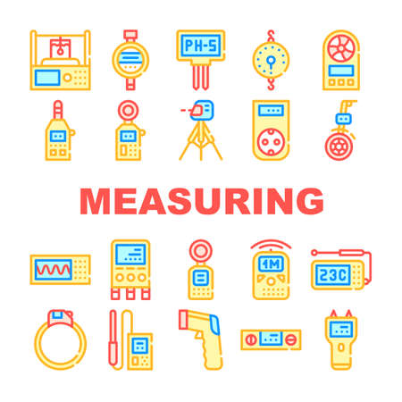 Measuring Equipment Collection Icons Set isolated illustration