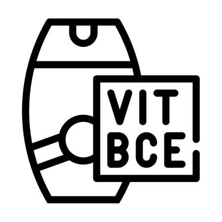 vitamin sunscreen cream line icon vector illustration