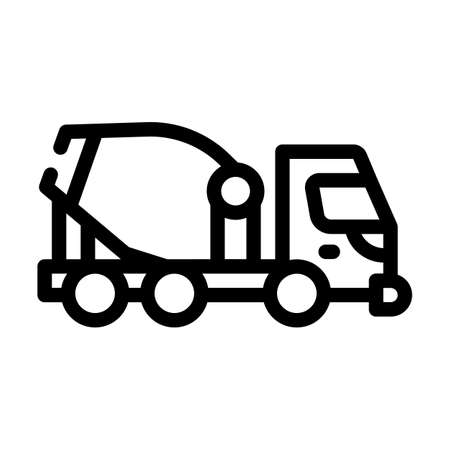 concrete mixer truck line icon vector illustration