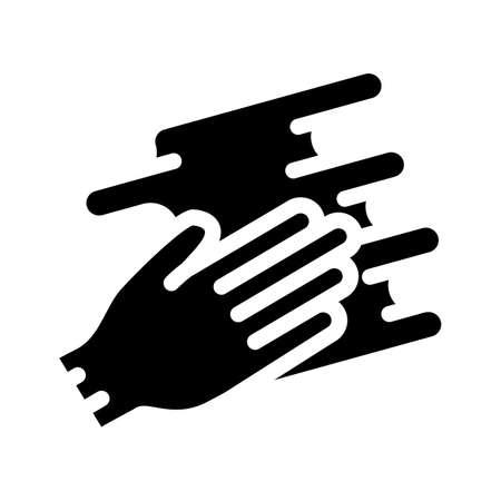 hand spreading cream glyph icon vector illustration