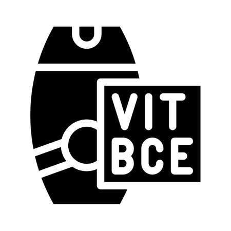 vitamin sunscreen cream glyph icon vector illustration 向量圖像
