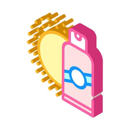 sun protective skin bottle isometric icon vector illustration 向量圖像