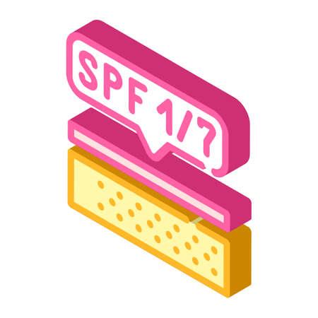 sunscreen layer on skin isometric icon vector illustration 向量圖像