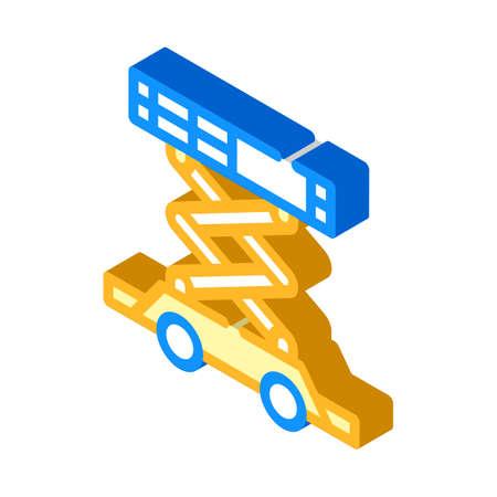 scissor lift isometric icon vector isolated illustration