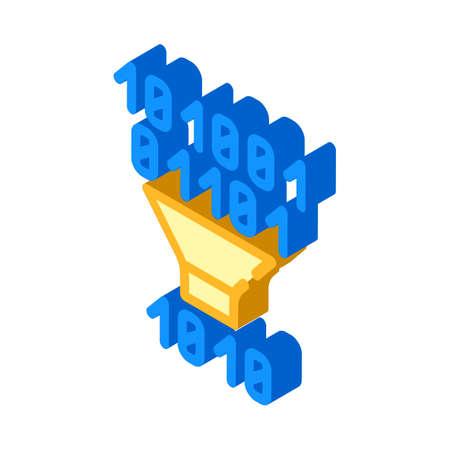binary code filtration isometric icon vector illustration