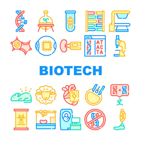 Biotech Technology Collection Icons Set Vector Illustrations
