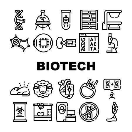 Biotech Technology Collection Icons Set Vector Illustrations 일러스트