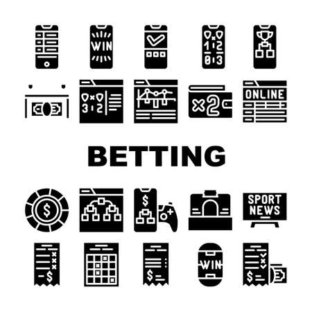 Betting On Gambling Collection Icons Set Vector